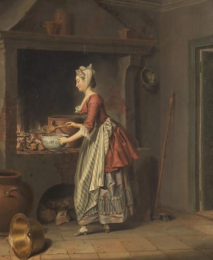Pehr Hilleström, Cameriera che travasa la zuppa dal paiolo,seconda metà del XVIII secolo, olio su tela